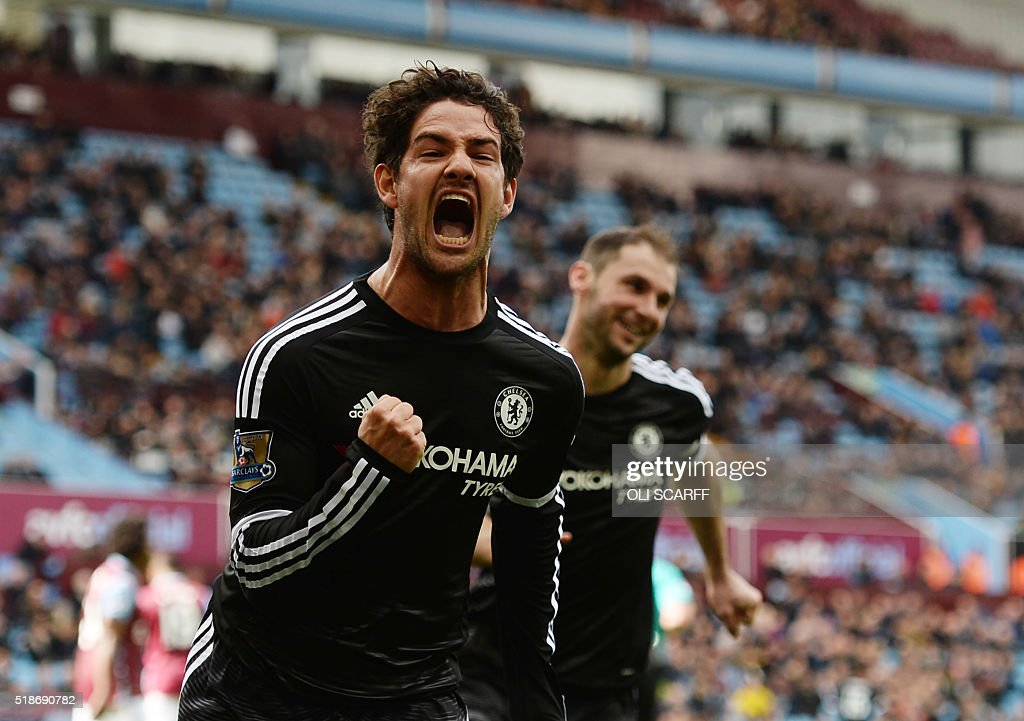 Chelsea's Brazilian striker Alexandre Pato celebrates after scoring from the penalty spot during the English Premier League football match between Aston Villa and Chelsea at Villa Park in Birmingham, central England on April 2, 2016. / AFP / OLI SCARFF / RESTRICTED TO EDITORIAL USE. No use with unauthorized audio, video, data, fixture lists, club/league logos or 'live' services. Online in-match use limited to 75 images, no video emulation. No use in betting, games or single club/league/player publications. /