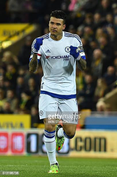 Chelsea's Brazilian striker Kenedy celebrates scoring the opening goal in the first minute of the English Premier League football match between...