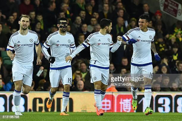 Chelsea's Brazilian striker Kenedy celebrates scoring the opening goal with Chelsea's Serbian defender Branislav Ivanovic Chelsea's Brazilianborn...