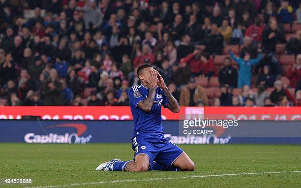 Chelsea's Brazilian striker Kenedy reacts after missing a shot on goal in extra time during the English League Cup fourth round football match...