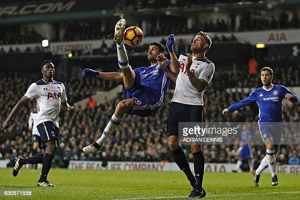 Chelsea's Brazilianborn Spanish striker Diego Costa attempts a bicycle kick during the English Premier League football match between Tottenham...