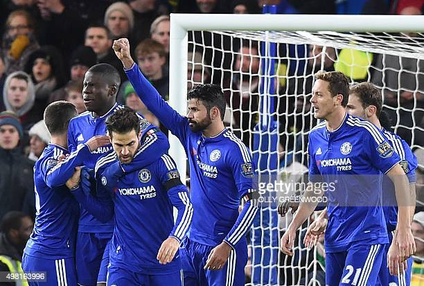 Chelsea's Brazilianborn Spanish striker Diego Costa celebrates after scoring his team's first goal during the English Premier League football match...