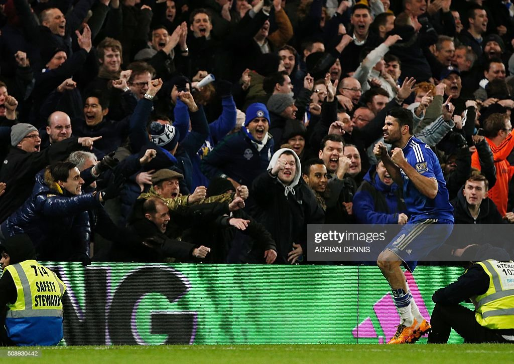 Chelsea's Brazilian-born Spanish striker Diego Costa celebrates after scoring during the English Premier League football match between Chelsea and Manchester United at Stamford Bridge in London on February 7, 2016. / AFP / ADRIAN DENNIS / RESTRICTED TO EDITORIAL USE. No use with unauthorized audio, video, data, fixture lists, club/league logos or 'live' services. Online in-match use limited to 75 images, no video emulation. No use in betting, games or single club/league/player publications. /
