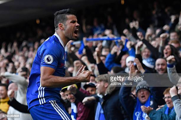 Chelsea's Brazilianborn Spanish striker Diego Costa celebrates after scoring the opening goal of the English Premier League football match between...