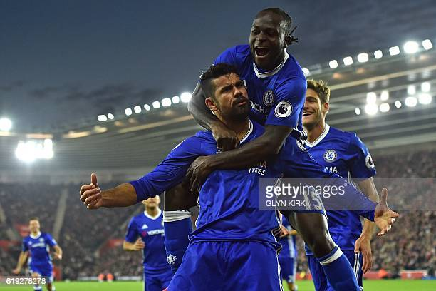 Chelsea's Brazilianborn Spanish striker Diego Costa celebrates scoring their second goal with Chelsea's Nigerian midfielder Victor Moses during the...