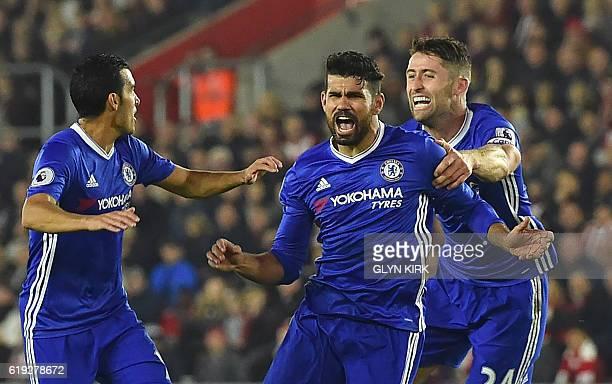 Chelsea's Brazilianborn Spanish striker Diego Costa celebrates scoring their second goal with Chelsea's Spanish midfielder Pedro and Chelsea's...