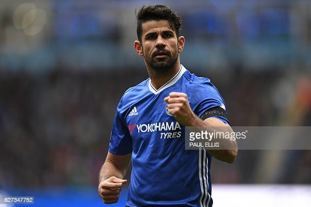 Chelsea's Brazilianborn Spanish striker Diego Costa celebrates scoring his team's first goal during the English Premier League football match between...