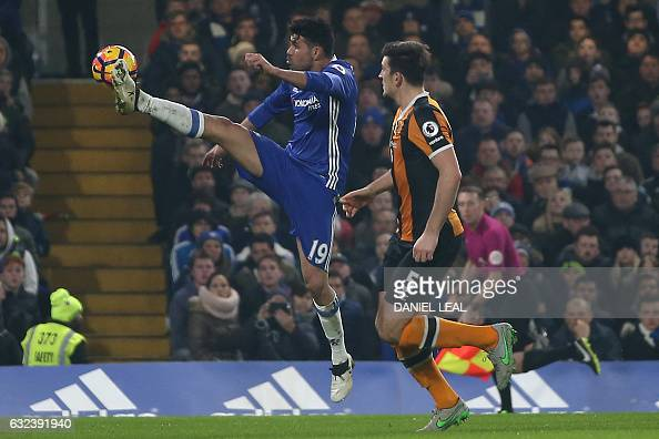 Chelsea's Brazilianborn Spanish striker Diego Costa controls the ball during the English Premier League football match between Chelsea and Hull City...