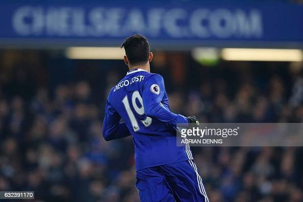 Chelsea's Brazilianborn Spanish striker Diego Costa is pictured during the English Premier League football match between Chelsea and Hull City at...
