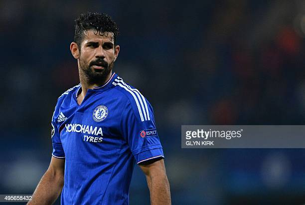 Chelsea's Brazilianborn Spanish striker Diego Costa looks on during a UEFA Chamions league group stage football match between Chelsea and Dynamo Kiev...