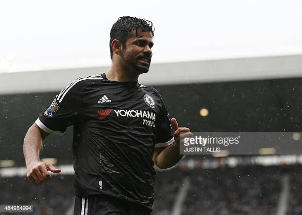 Chelsea's Brazilianborn Spanish striker Diego Costa reacts during the English Premier League football match between West Bromwich Albion and Chelsea...