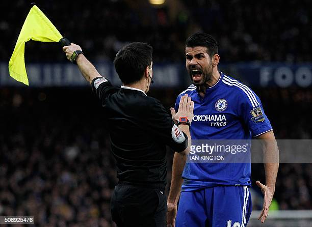 Chelsea's Brazilianborn Spanish striker Diego Costa reacts to a call by a line judge during the English Premier League football match between Chelsea...