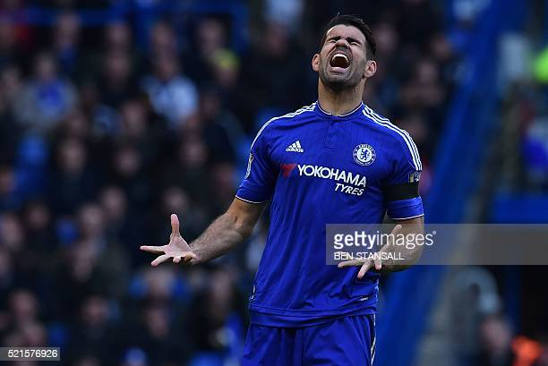 Chelsea's Brazilianborn Spanish striker Diego Costa reacts to a missed chance during the English Premier League football match between Chelsea and...