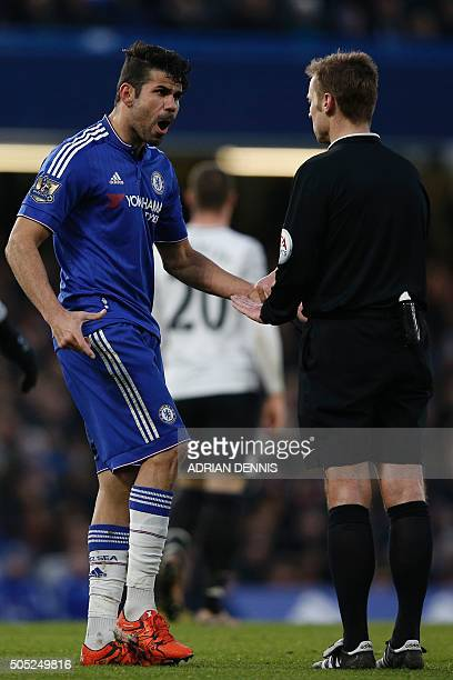 Chelsea's Brazilianborn Spanish striker Diego Costa remonstrates with referee Michael Jones after being penalised during the English Premier League...
