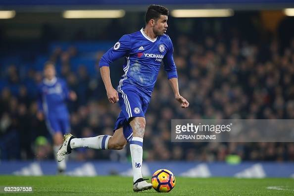 Chelsea's Brazilianborn Spanish striker Diego Costa runs in on goal but is offside during the English Premier League football match between Chelsea...