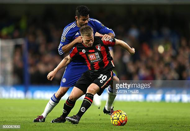 Chelsea's Brazilianborn Spanish striker Diego Costa vies with Bournemouth's English midfielder Matt Ritchie during the English Premier League...