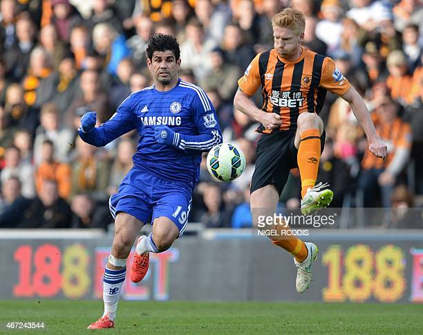 Chelsea's Brazilianborn Spanish striker Diego Costa vies with Hull City's Irish defender Paul McShane during the English Premier League football...