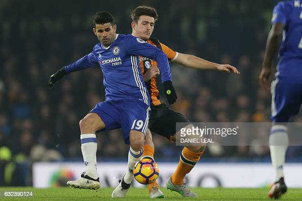 Chelsea's Brazilianborn Spanish striker Diego Costa vies with Hull City's English defender Harry Maguire during the English Premier League football...
