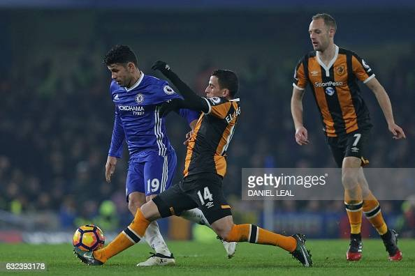 Chelsea's Brazilianborn Spanish striker Diego Costa vies with Hull City's Norwegian defender Omar Elabdellaoui during the English Premier League...