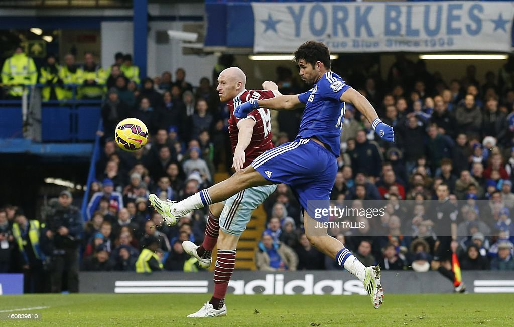 Chelsea's Brazilian-born Spanish striker Diego Costa (R) vies with West Ham United's Welsh defender <a gi-track='captionPersonalityLinkClicked' href=/galleries/search?phrase=James+Collins+-+Futbolista+gal%C3%A9s&family=editorial&specificpeople=15167252 ng-click='$event.stopPropagation()'>James Collins</a> during the English Premier League football match between Chelsea and West Ham United at Stamford Bridge in London on December 26, 2014. Chelsea won the game 2-0. AFP PHOTO / JUSTIN TALLIS PUBLICATIONS. ==