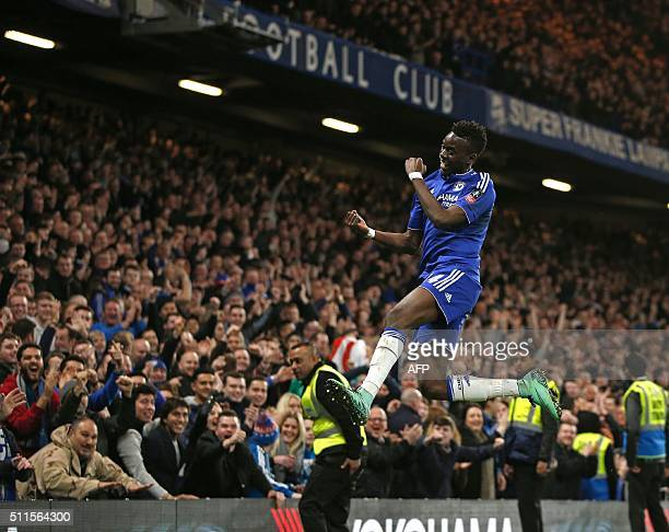 Chelsea's Burkina Faso midfielder Bertrand Traore celebrates scoring their fifth goal during the English FA Cup fifth round football match between...