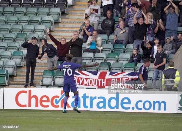 Chelsea's Callum HudsonOdoi celebrates with Chelsea fans after scoring the second of his two goals in the Checkatrade Trophy match at Home Park on...