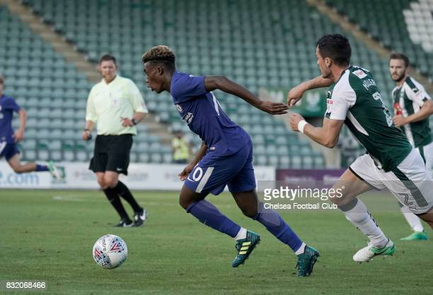 Chelsea's Callum HudsonOdoi during the Checkatrade Trophy match at Home Park on August 15 2017 in Plymouth England