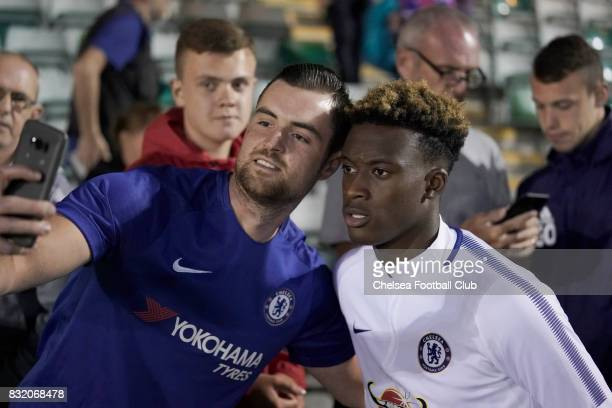 Chelsea's Callum HudsonOdoi mixes with fans after the Checkatrade Trophy match at Home Park on August 15 2017 in Plymouth England