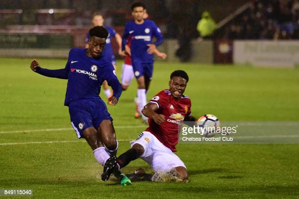 Chelsea's Callum HudsonOdoi scores his goal during the Premier League 2 match between Chelsea FC and Manchester United on September 18 2017 in...