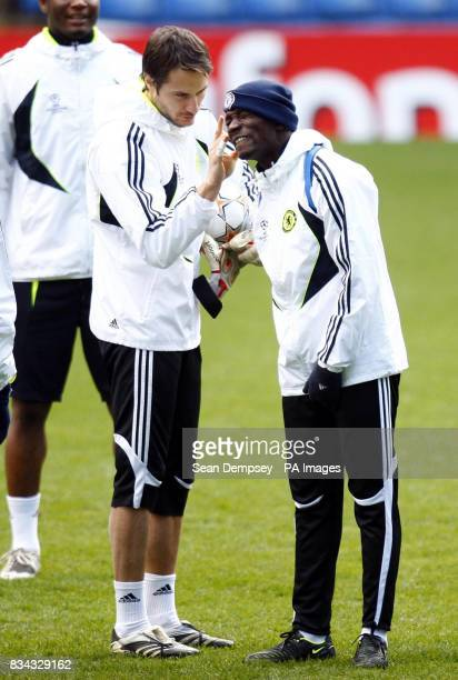 Chelsea's Carlo Cudicini with Claude Makelele during the training session at Stamford Bridge London