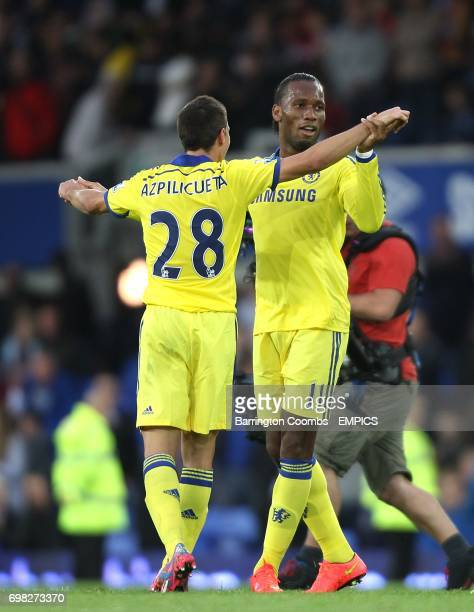 Chelsea's Cesar Azpilicueta and Didier Drogba celebrate victory after the match
