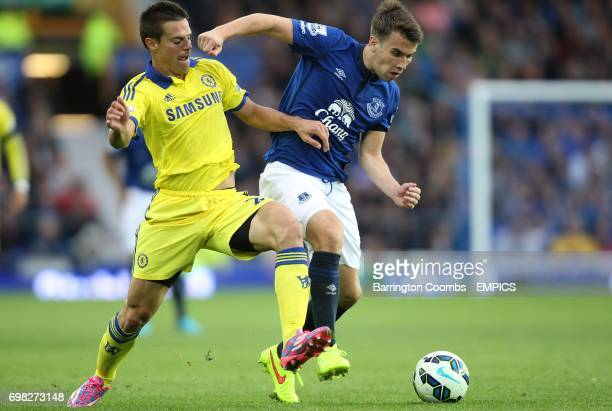 Chelsea's Cesar Azpilicueta and Everton's Seamus Coleman battle for the ball
