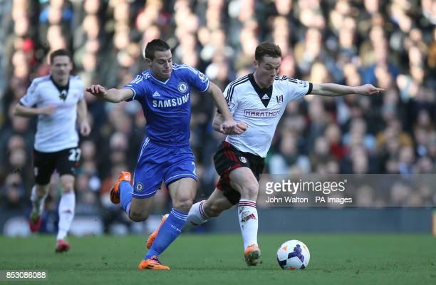 Chelsea's Cesar Azpilicueta and Fulham's Scott Parker during the Barclays Premier League match at Craven Cottage London