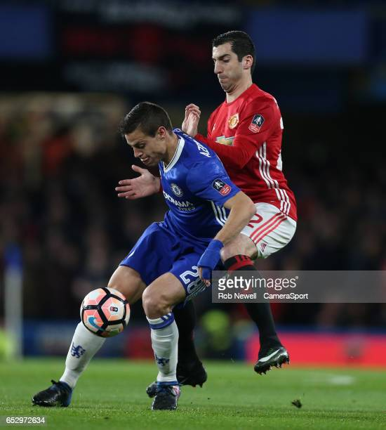 Chelsea's Cesar Azpilicueta and Manchester United's Henrikh Mkhitaryan during the Emirates FA Cup QuarterFinal match between Chelsea and Manchester...