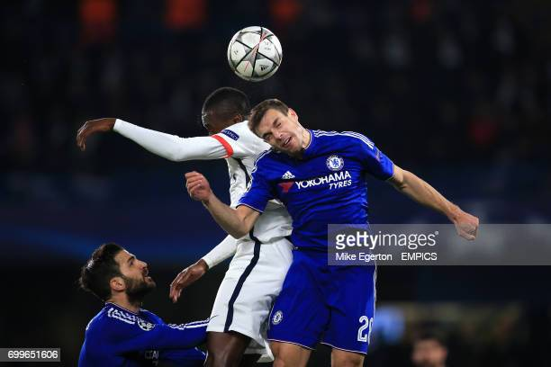 Chelsea's Cesar Azpilicueta and Paris SaintGermain's Blaise Matuidi battle for the ball in the air
