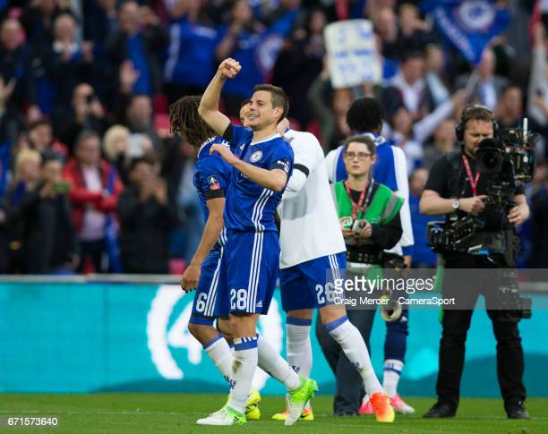 Chelsea's Cesar Azpilicueta celebrates his sides victory after the Emirates FA Cup SemiFinal match between Tottenham Hotspur and Chelsea at Wembley...