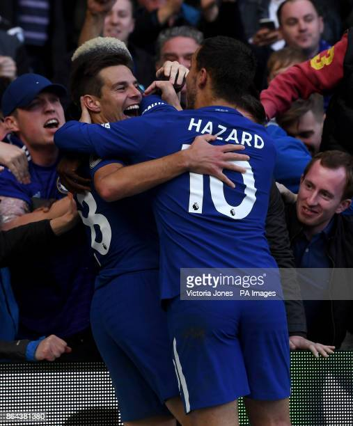 Chelsea's Cesar Azpilicueta celebrates scoring his side's third goal of the game with teammate Eden Hazard during the Premier League match at...