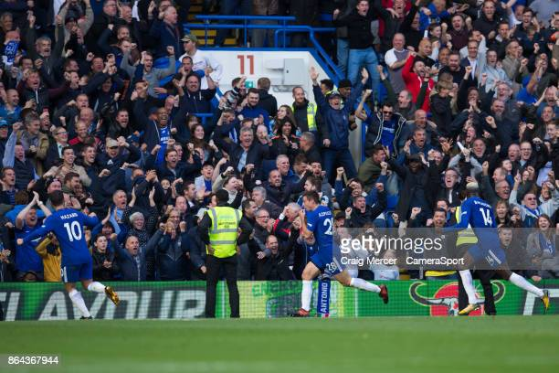 Chelsea's Cesar Azpilicueta celebrates scoring his side's third goal during the Premier League match between Chelsea and Watford at Stamford Bridge...