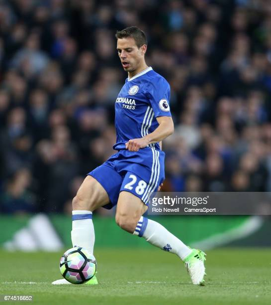 Chelsea's Cesar Azpilicueta during the Premier League match between Chelsea and Southampton at Stamford Bridge on April 25 2017 in London England