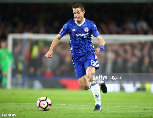 Chelsea's Cesar Azpilicueta during the The Emirates FA Cup Sixth Round match between Chelsea and Manchester United at Stamford Bridge London England...