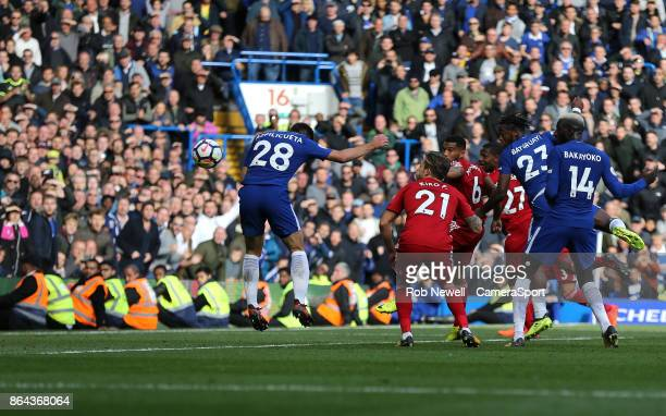 Chelsea's Cesar Azpilicueta scores his side's third goal during the Premier League match between Chelsea and Watford at Stamford Bridge on October 21...