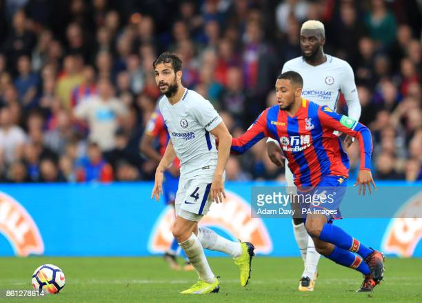 Chelsea's Cesc Fabregas and Crystal Palace's Jairo Riedewald battle for the ball during the Premier League match at Selhurst Park London