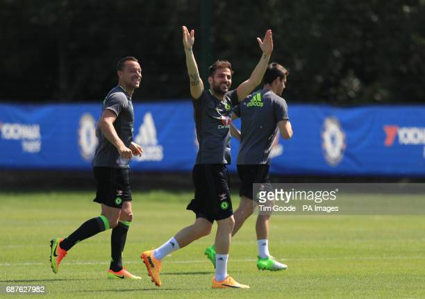Chelsea's Cesc Fabregas and John Terry during the training session at Cobham Training Ground Stoke d'Abernon