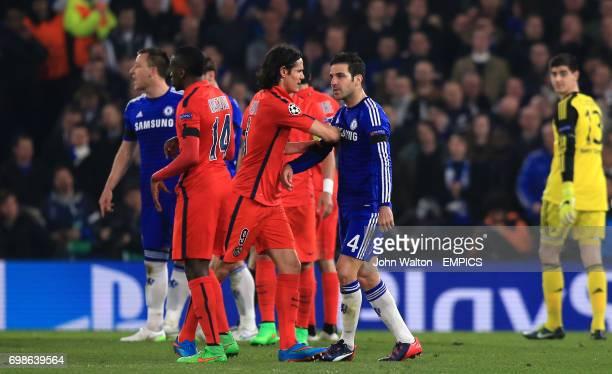 Chelsea's Cesc Fabregas and Paris St Germain's Edinson Cavani get into a altercation