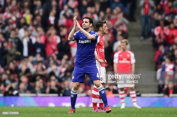 Chelsea's Cesc Fabregas applauds the crowd as he is substituted during the game