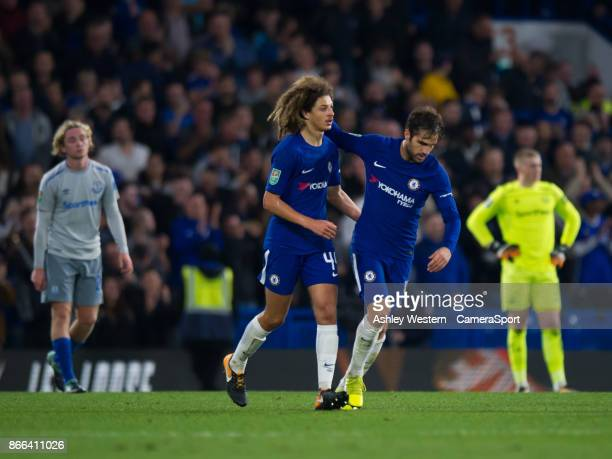 Chelsea's Cesc Fabregas congratulates Ethan Ampadu during the Carabao Cup Fourth Round match between Chelsea and Everton at Stamford Bridge on...