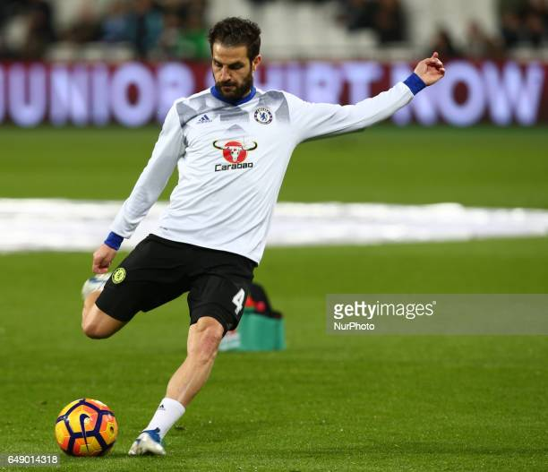Chelsea's Cesc Fabregas during the prematch warmup during the prematch warmup during EPL Premier League match between West Ham United against Chelsea...