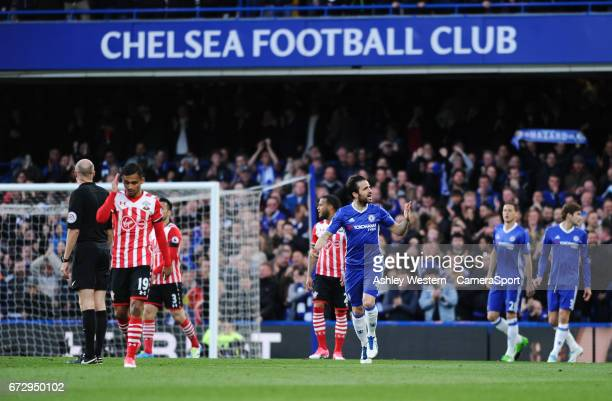 Chelsea's Cesc Fabregas gestures to the fans as Eden Hazard scores the opening goal during the Premier League match against Southampton at Stamford...