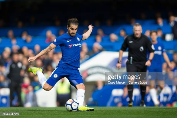 Chelsea's Cesc Fabregas has a long range shot at goal during the Premier League match between Chelsea and Watford at Stamford Bridge on October 21...