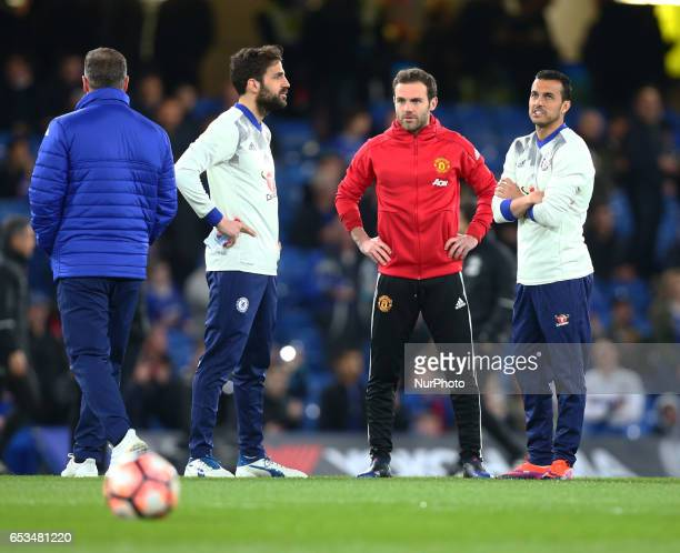 LR Chelsea's Cesc Fabregas Manchester United's Juan Mata and Chelsea's Pedro during the The Emirates FA Cup Sixth Round match between Chelsea and...